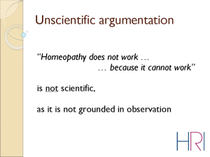Dr Alexander Tournier, Overview of the current state of the research in Homeopathy, Slide 5