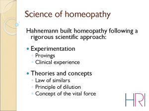 Dr Alexander Tournier, Overview of the current state of the research in Homeopathy, Slide 6